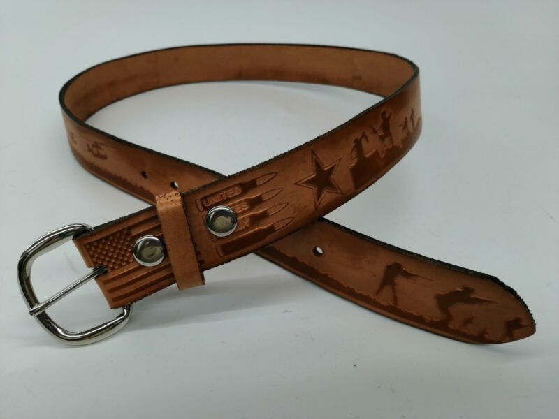 US Army Leather Belt Military Tank Jet Chopper Soldier Bullet Star Brown 36