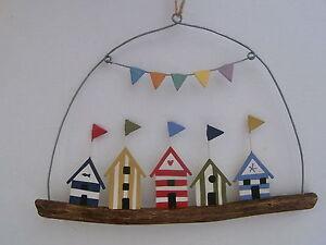 Beach Huts Driftwood Hanging Decoration , Seaside / Nautical decor FREE POST