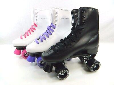 Roller Derby Skate Sizes 1-10 Women Kids Black White Purple Pink FREE SHIPPING Black Roller Skate Men