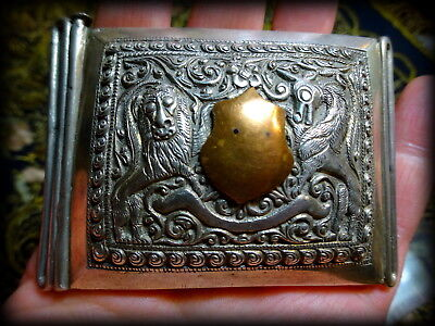Antique Rare India Burma Military Solid Silver Repouse Ceremonial Buckle