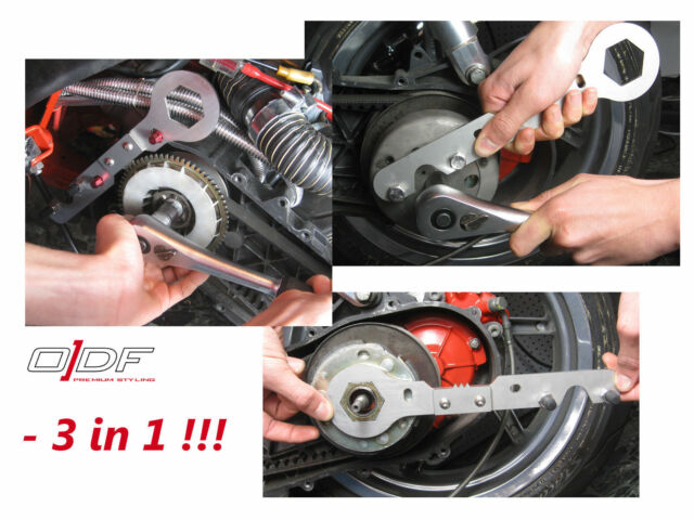 Variator + Clutch Locking Tool + Wrench, Derbi Atlantis, 50ccm Piaggio-Motor