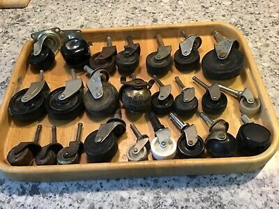 Lot Of 24 Assorted Vintage Metal Furniture Caster Wheels Industrial Steampunk