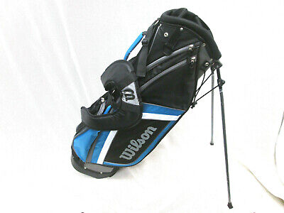 WILSON REFLEX STAND BAG - BLACK/WHITE/BLUE  lightweight dual strap carry bag NEW
