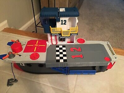 Huge FISHER PRICE IMAGINEXT 2009 SKYRACERS AIRCRAFT CARRIER boat ship playset