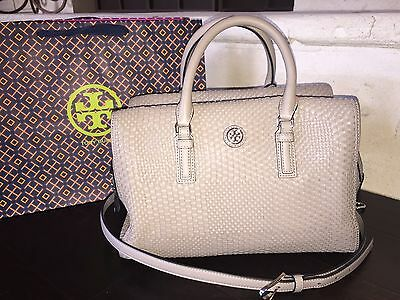 TORY BURCH ROBINSON WOVEN SOFT SATCHEL FRENCH GRAY NWT $650 & GIFT BAG-31159710
