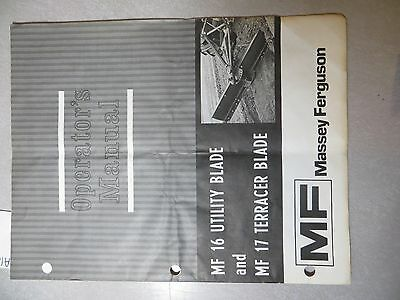 Massey Ferguson 16 Utility And 17 Terracer Blades Owners Manual