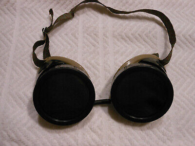 Vintage Welding Motorcycle Steampunk Safety Goggles 2 Sets Of Lenses Greenclear