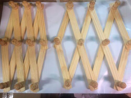 Set of 2 Wooden Wall Rack Expandable Hat Cap Belt  Organizer 10 Hooks!!