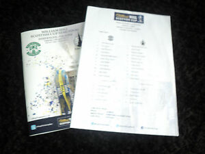 Falkirk v Hibernian Hibs 2013 Scottish Cup Semi Final Programme + Teamsheet !!