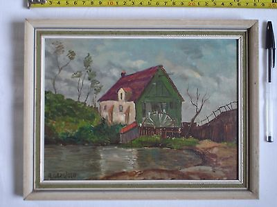 "Original Acrylic/Oil painting of mill and wheel. Signed. "" A. Gargiulo""?"