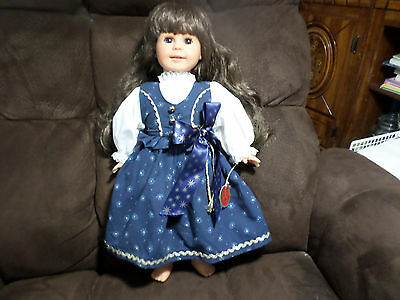 "Engel Puppe Germany Vinyl Cloth Girl Doll 18""  Germany Brown Eyes & Hair SIGNED"