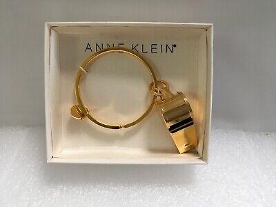 Vintage Anne Klein Lion Tag Gold Tone Key Ring Chain Whistle NIB