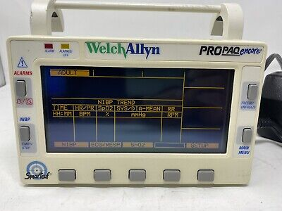 Welch Allyn Propaq Encore 202el Monitor No Power Cord - Airforce Plane Rated