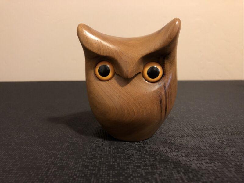 Oregon MyrtleWood Owl Figurine, Hand Carved Wooden Owl Signed By Artist