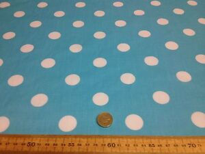 Poly-Cotton-fabric-SPOTTED-POLKA-DOT-TURQUOISE-WHITE-SPOTS-25-MM-SPOTS