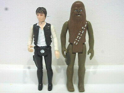 Vintage Star Wars Action Figures x2 Han Solo and Chewbacca First 12 1977