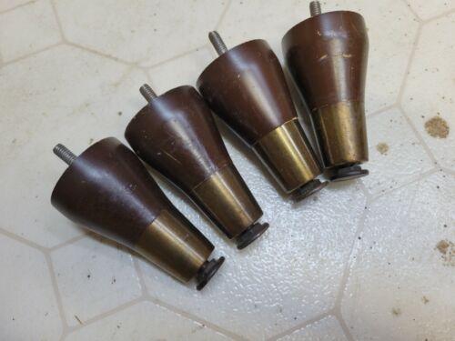 """4 Vintage 4"""" Mid Century Modern Tapered Table Ottoman Legs Wood Metal Caps"""