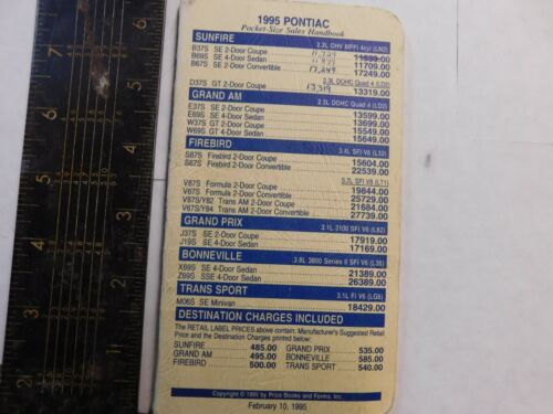 1995 PONTIAC SALESMAN FACTS AND PRICES ALL MODELS