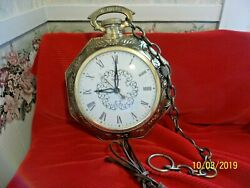Vintage United Wall Clock, Pocket Watch style, Model 365  Glass Domed Face