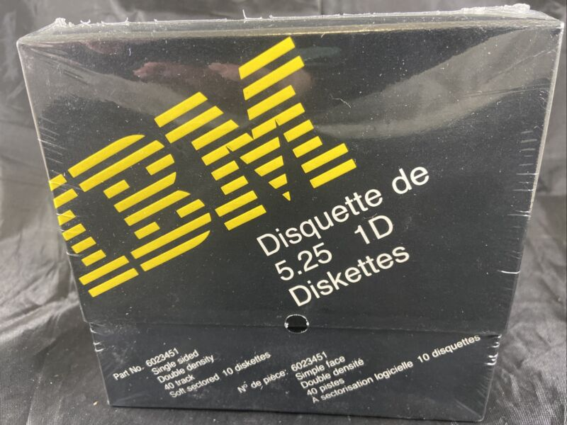 Vintage IBM 5.25 1 D Single Sided Floppy Diskettes Box Of 10 Sealed