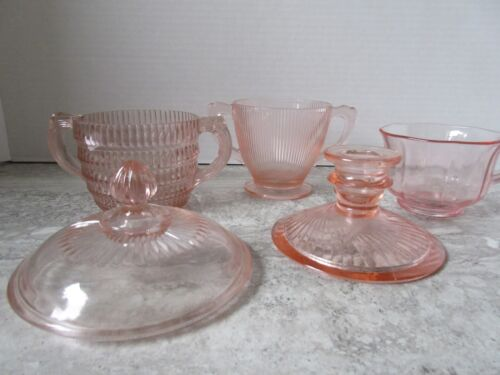 5 Old Pieces Pink Depression Glass Candlestick Sugar Cup Sugar Lid