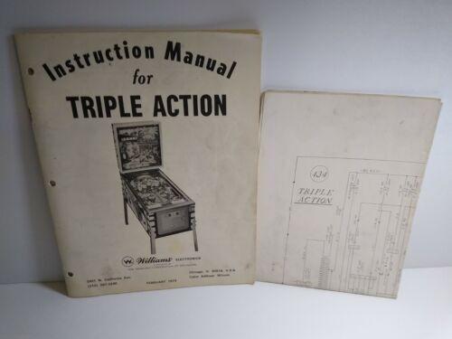 Williams Triple Action Pinball MANUAL And Schematic Game Diagram Original 1974
