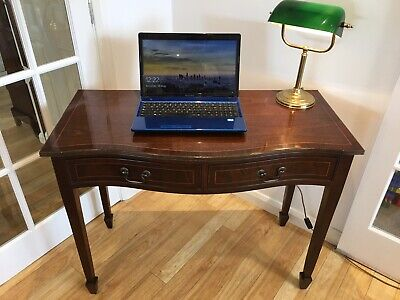 Vintage Mahogany Bow Fronted Writing Desk Of 2 Short Drawers