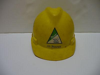Vintage Msa Safety Hard Hat Ratchet Suspension V-guard Yellow
