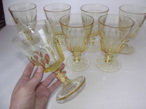 (7) Water Goblets Glasses Cambridge 1401 JEFFERSON yellow amber gold topaz panel