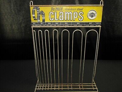Vtg 1950 DuPage Stainless Steel Hose Auto Car Clamps Metal Sign Wire Rack Stand