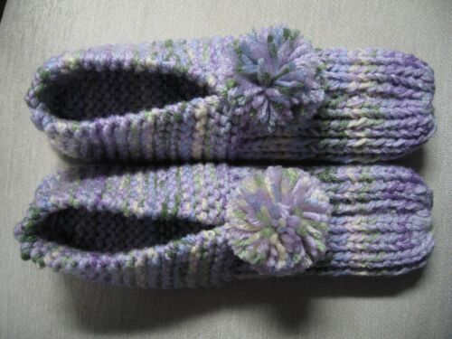 """NWOT Amish Handmade House Slippers Orchid Pastel Mix Wms X Lg Mans Med/Lg 10"""""""