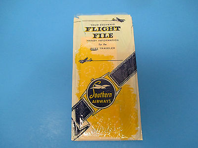 Vintage 1957 Southern Airways Souvenier Flight File Ticket Holder Timetable S746