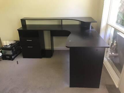 Large brown wrap around desk