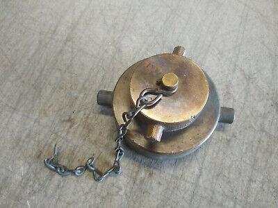Vintage Fire Hose Ball Valve Male Cap Brass 3 Large 2 Small Diameter