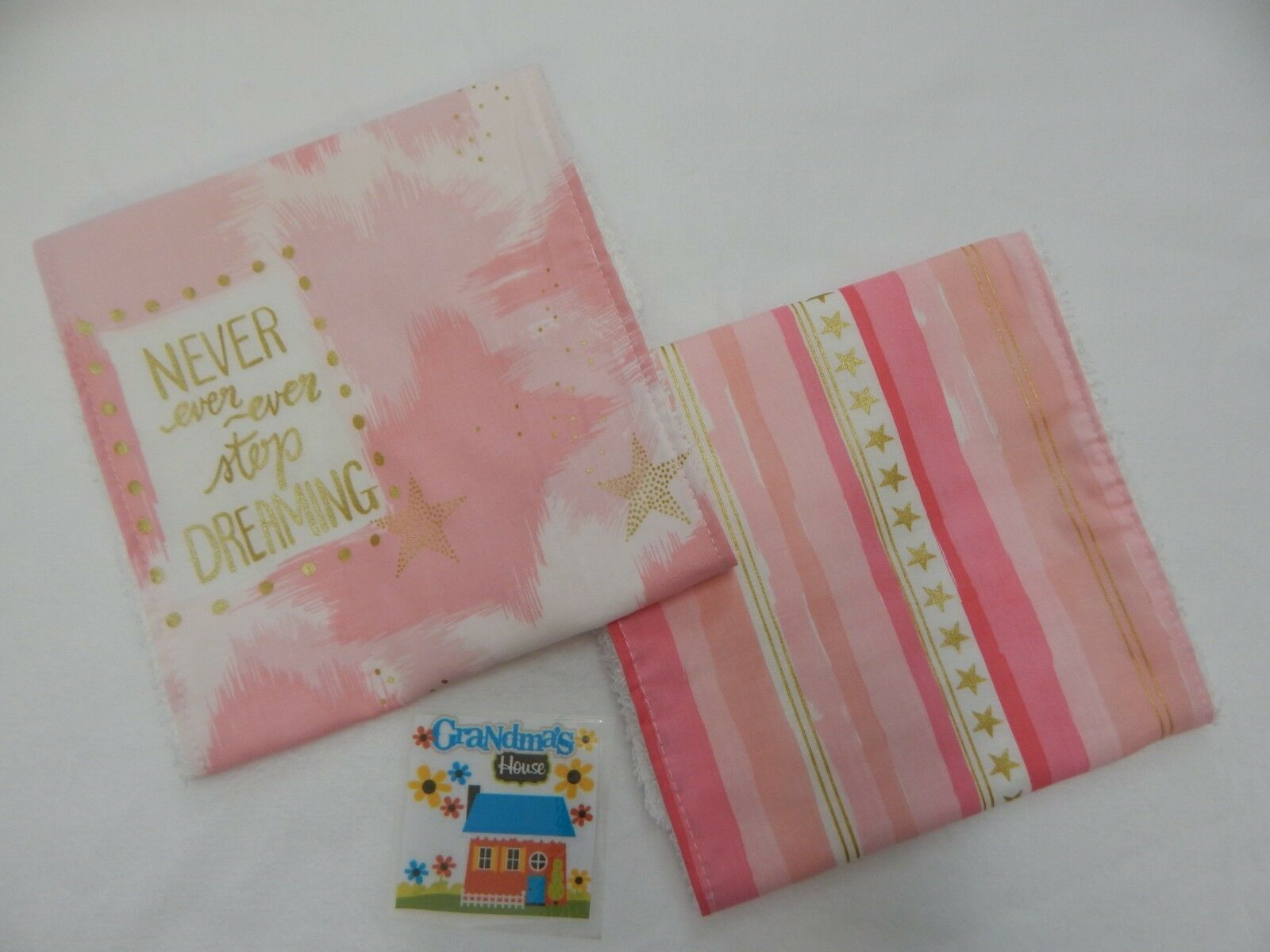 Burp Cloths Pink Moon and Back 2 Pack Toweling Backed GREAT