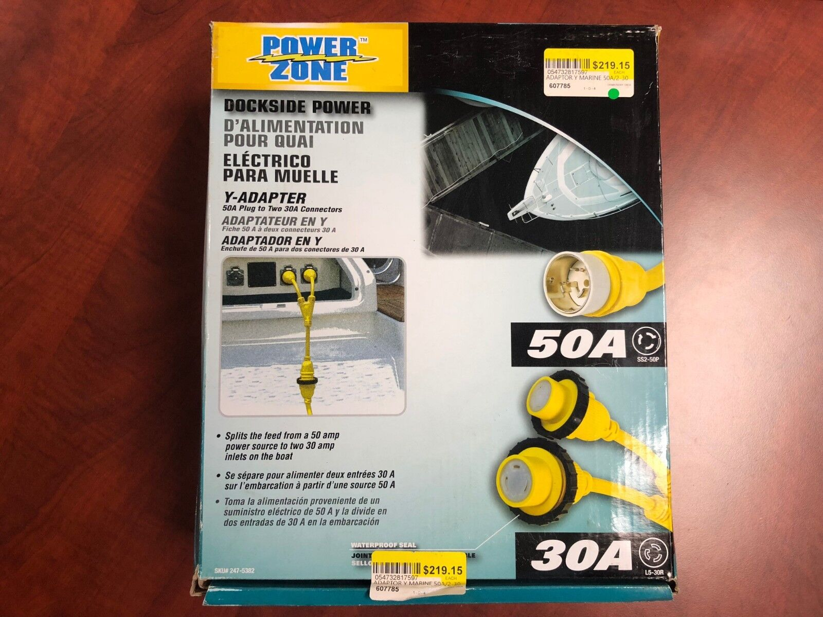 Power Zone Y-Adapter 50A plug to Two 30A connectors 247-5382 Marina Dock Cord