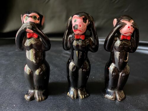 Vtg 3 WISE Monkeys Figurine Japan HEAR/SEE/SPEAK NO EVIL