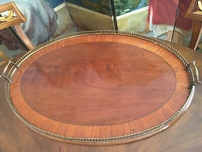Antique Batler's Tray with Marquetry, 26.5x17.5