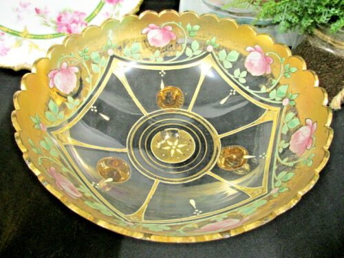 Vintage victorian glass bowl with gold and painted pink roses footed glass bowl