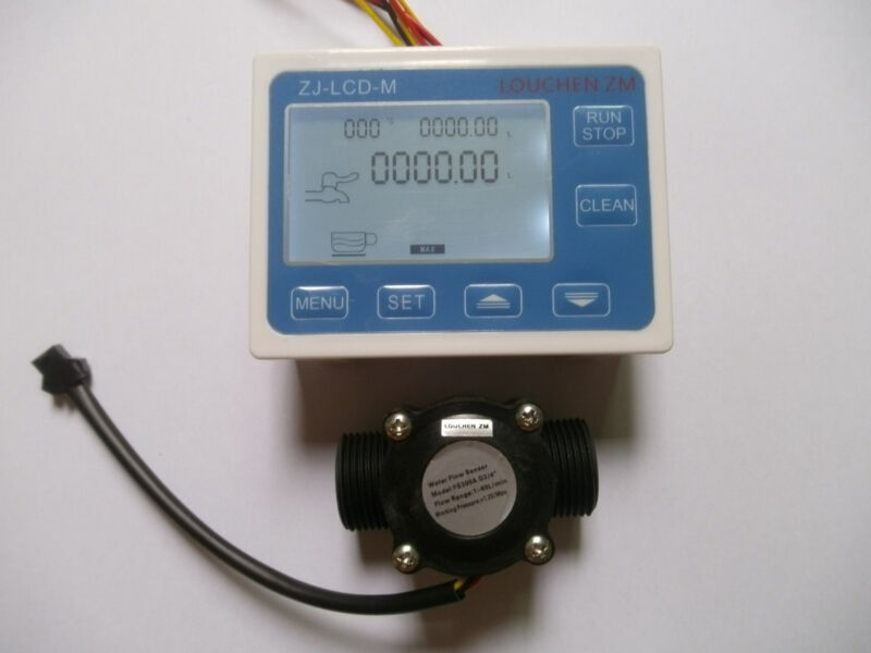 "Hall effect G3/4"" Flow Water Sensor Meter+Digital LCD Display control"