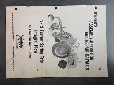 Minneapolis Moline Vp 2 Furrow Spring Trip Integral Plow Catalog