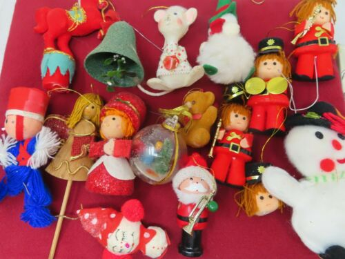 Lot 15 Vintage Ornaments Flocked Felted Toy Soldier Bell Horse