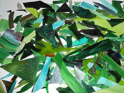 STAINED GLASS MOSAIC PIECES **TWO Full Pounds- COLOR: GREENS