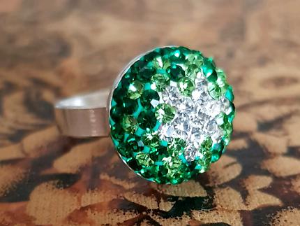 Green & White Swarovski Crystal Ring, Sterling Silver, Size 9 US