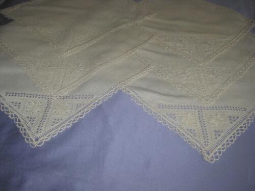 """Vintage Lefkara  Embroidered Linen 6  Napkins 12""""X12"""""""