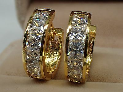 18K Yellow Gold Solid Womens Girls 20mm Created Diamond Hoop huggies Earrings