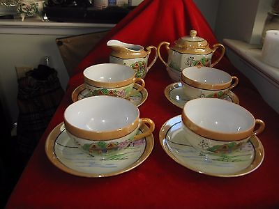 VINTAGE JAPANESE TEA SET HAND-PAINTED 11-PIECE LUSTERWARE