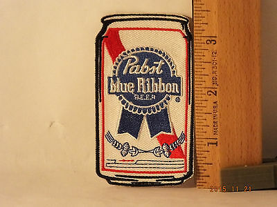 PBR Original PABST BLUE RIBBON BEER CAN STYLE  EMBROIDERED IRON-ON PATCH