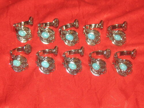 Wholesale Lot Of 10 Silver Plated Turquoise Spoon Rings Sizes 6-10 Adjustable