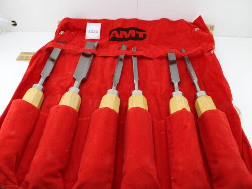 Vintage AMT Chisel Piece Set w/Pouch Wood Handles Lathe Tool Brand Excellent